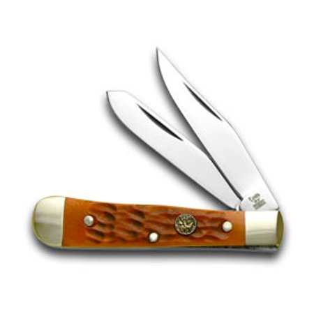 HEN & ROOSTER AND Orange Jigged Bone Tiny Trapper Pocket Knife Knives