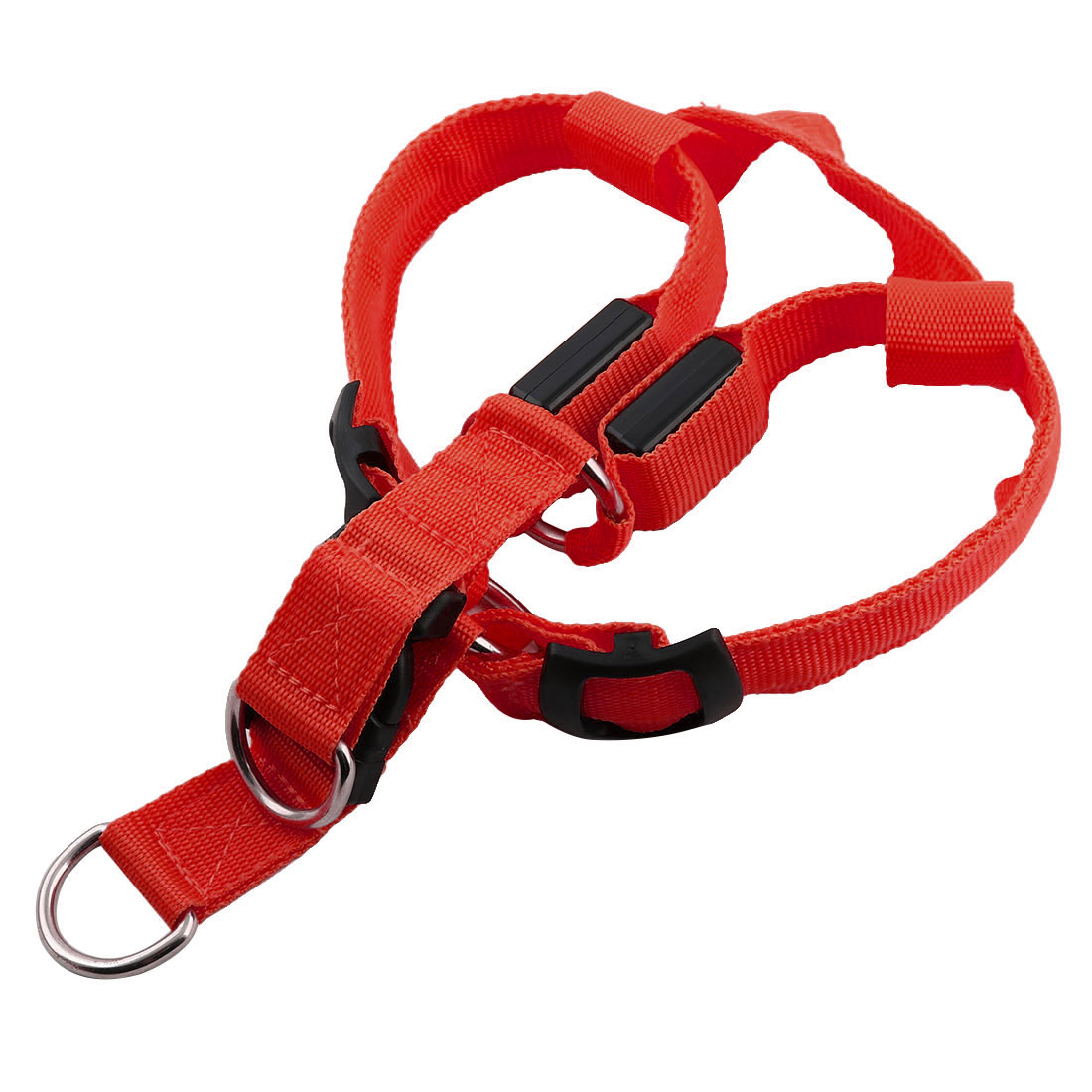 Pet Dog Puppy Nylon LED Flashing Light Night Safety Adjustable Chest Strap Red