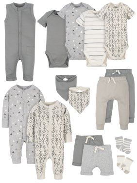 Modern Moments by Gerber Baby Boy Baby Shower Layette Gift Set, 15pc