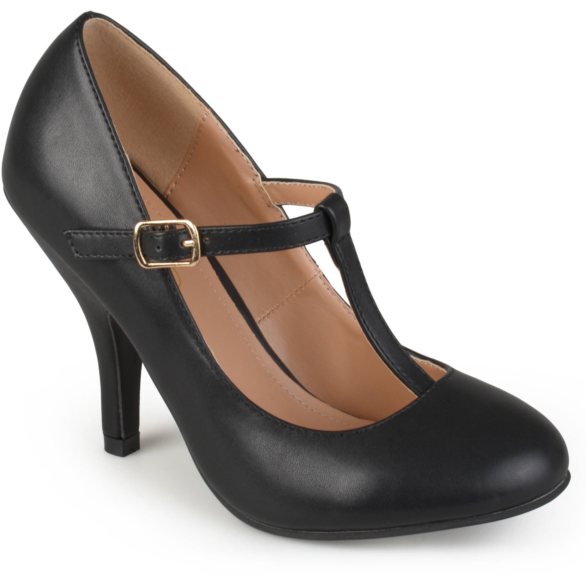Brinley Co. Women's T-strap Matte Finish Pumps