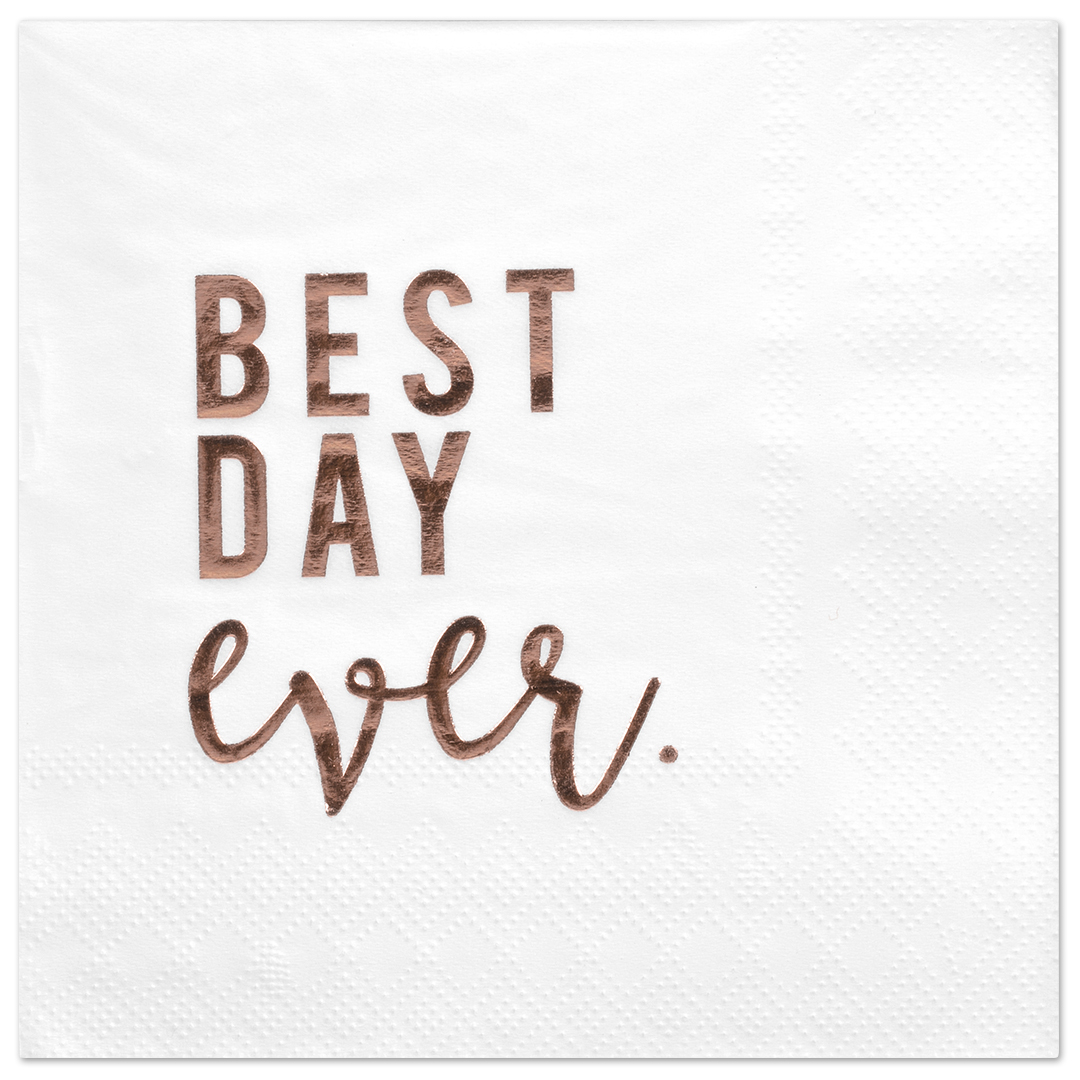 Koyal Wholesale Best Day Ever, Funny Quotes Cocktail Napkins, Rose Gold Foil, Bulk 50 Pack Count 3 Ply Napkins