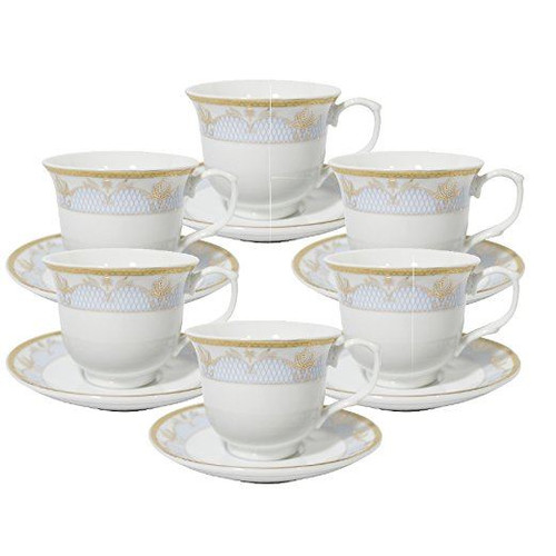 Imperial Gift Co. Floral Tea Cup and Saucer Set (Set of 6)