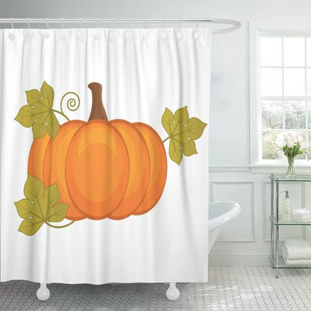 PKNMT Green Agriculture Pumpkin Halloween Thanksgiving Orange Autumn Celebration Clipart Waterproof Bathroom Shower Curtains Set 66x72 - Happy Halloween Pumpkins Clipart