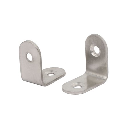 Unique Bargains 25mmx25mmx2mm Stainless Steel L Shaped Angle Brackets Shelf Supports 10pcs - image 1 of 2