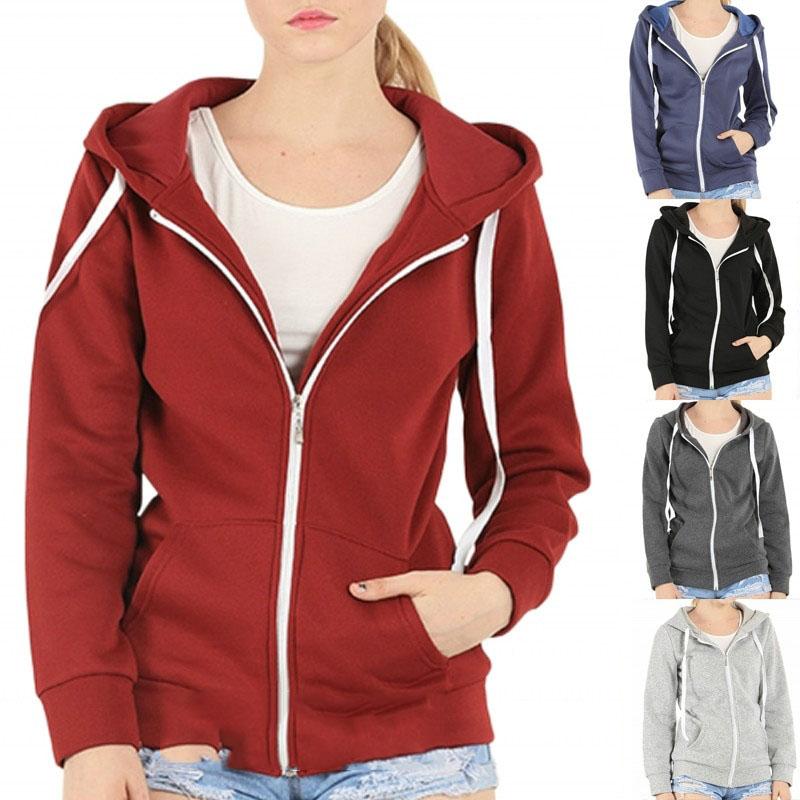 Women's Casual Style Hooded Zipper Sweatershirts Autumn Winter Plus Size Jacket Cardigans Coat