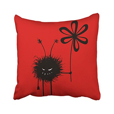WinHome Halloween Red Evil Flower Bug Gothic Throw Pillow Covers Cushion Cover Case 18x18 Inches Pillowcases Two Side