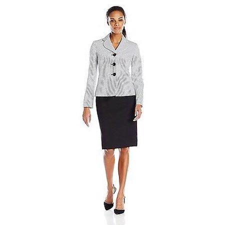New  1882 Le Suit Women's 2 Tone Jacquard Unmatched Skirt Suit, White/Black, 6 (Skirt Jacket Blazer)
