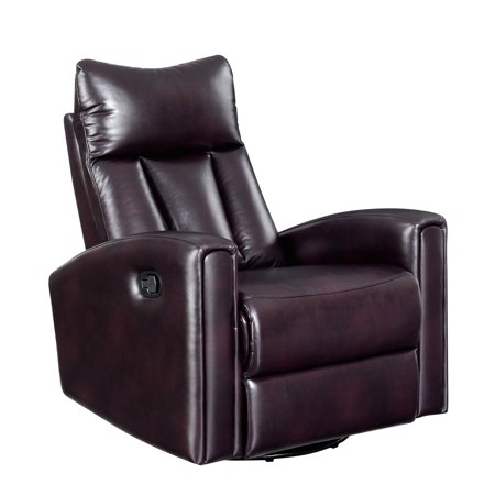 Emerald Home Maverick Chocolate Recliner with Faux Leather Upholstery And Swivel Recliner