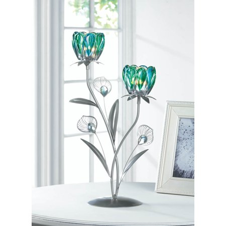 - Metal Candle Holders, Decorative Iron Double Peacock Flowered Candle Holders