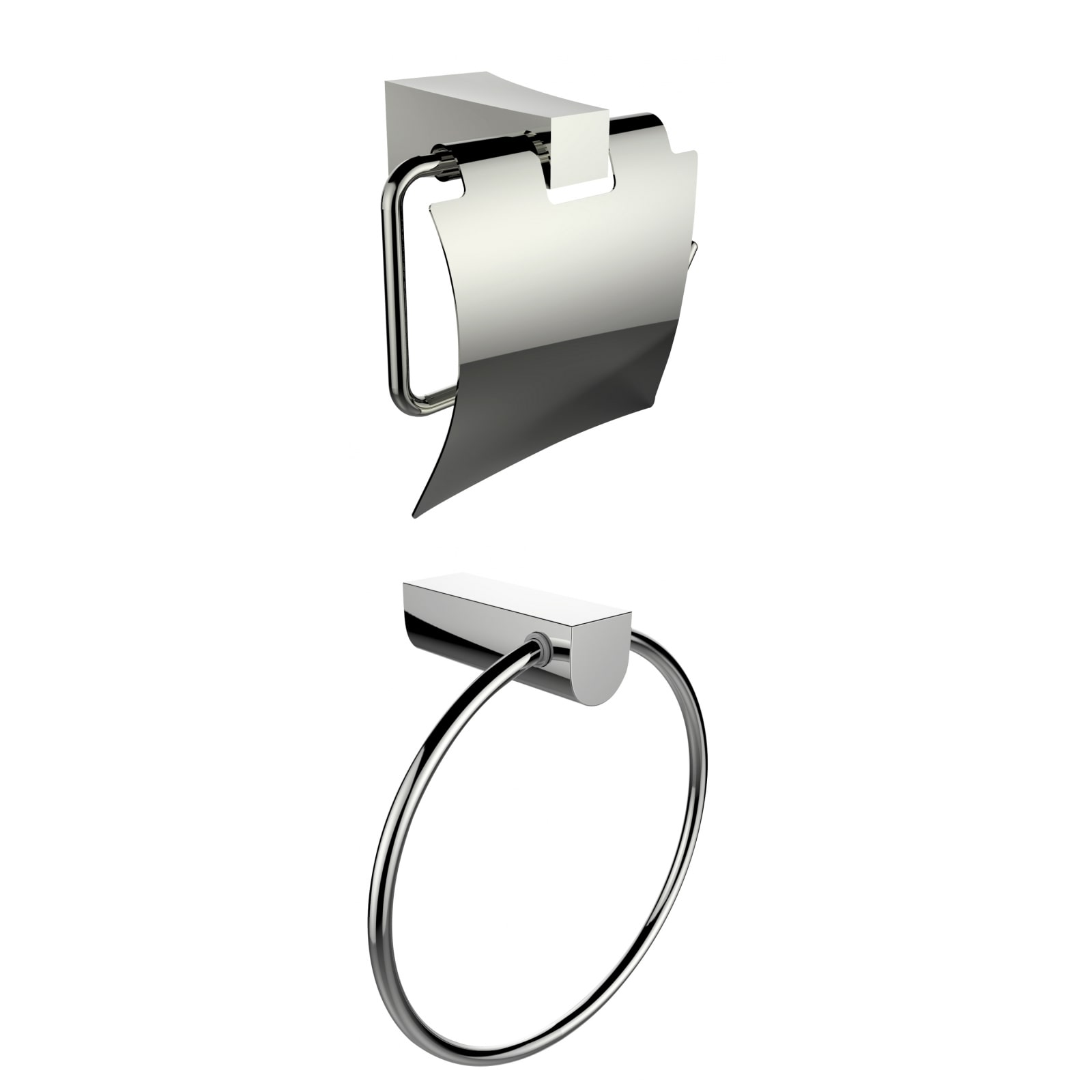 American IMaginations Chrome Plated Towel Ring With Toilet Paper Holder Accessory Set by Overstock