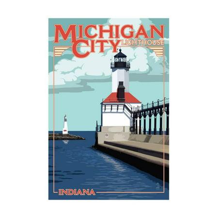 Indiana - Michigan City Lighthouse Print Wall Art By Lantern Press (Party City Taylor Michigan)
