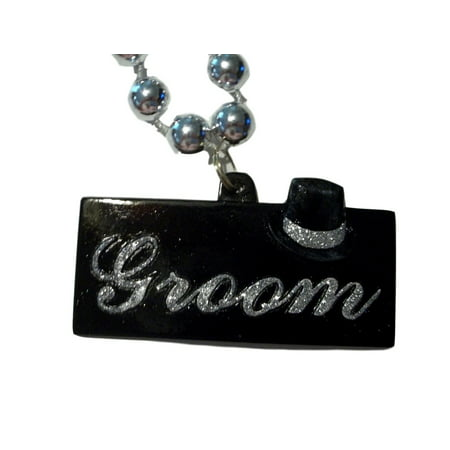 Groom Black Silver Bachelor Party Mardi Gras Necklace Beads Bead