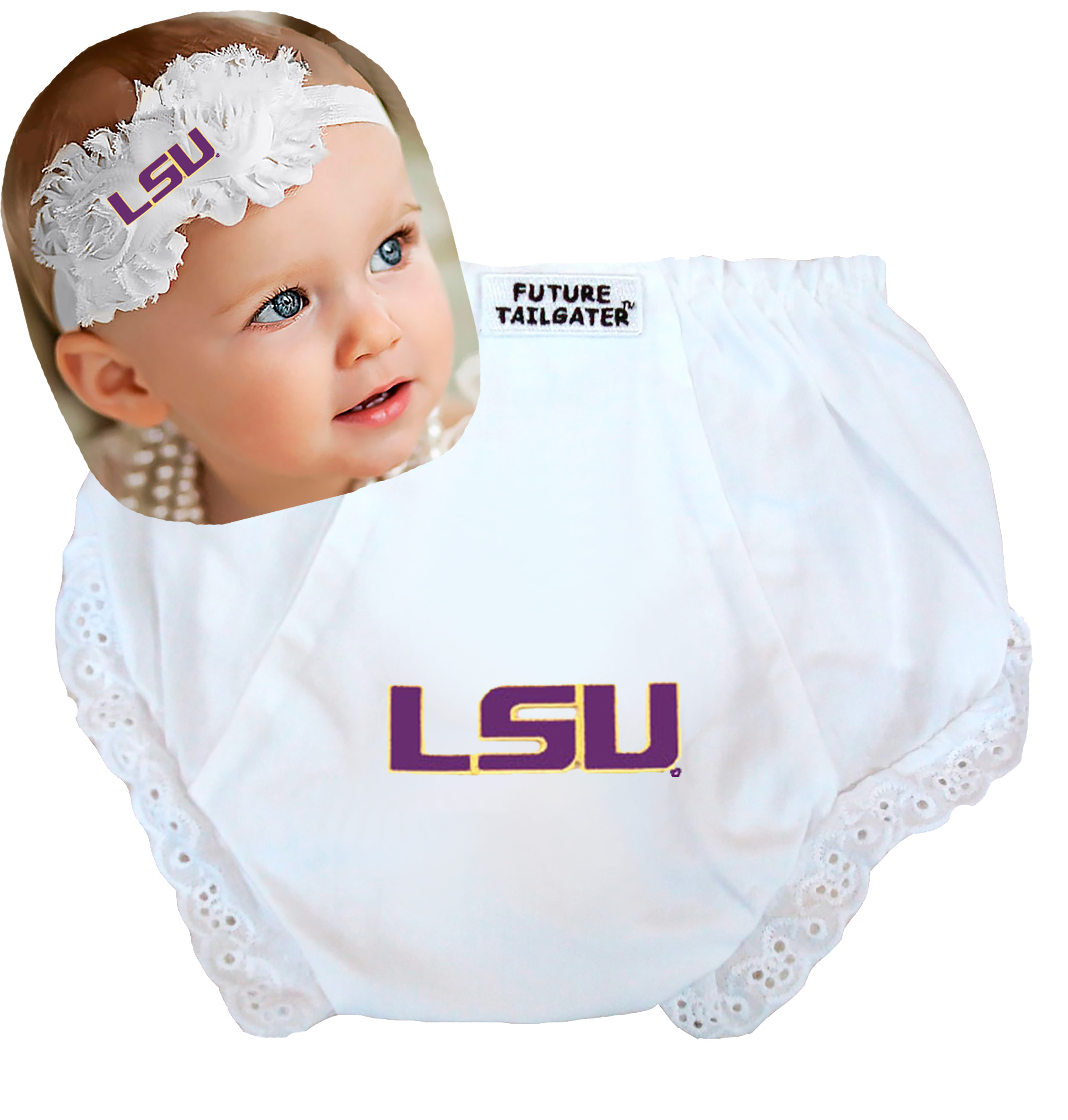 LSU Tigers Baby Diaper Cover and Shabby Flower Headband