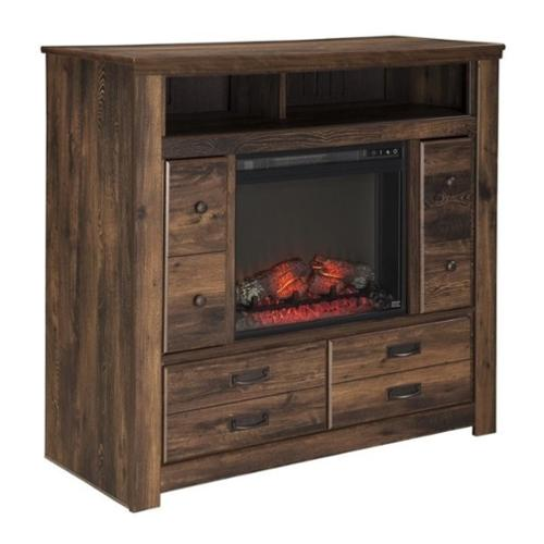 Ashley Quinden 4 Drawer Wood Media Chest with Glass Fireplace Insert