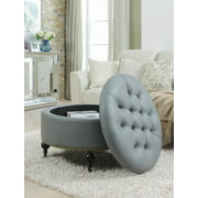 Chic Home Keller PU Leather Modern Contemporary Hidden Storage Button Tufted with Gold Nailhead Trim Castered Legs Round Ottoman, Grey