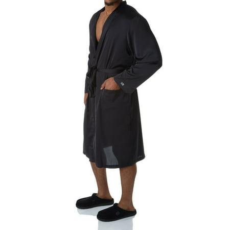 - Men's Hartman 790017 Essentials Classic Sueded Charmeuse Robe (Black O/S)