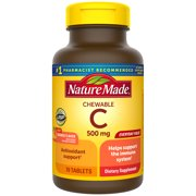 Nature Made Chewable Vitamin C 500 mg Tablets, 70 Count to Help Support the Immune System