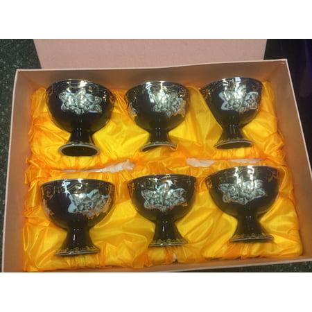 - Porcelain  Egg/Dessert cups, Blue, Gift Box set of 6