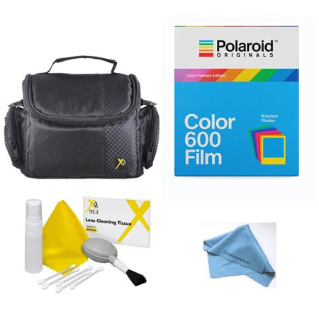 Film Processing Kit (Starter Kit Polaroid Originals 4672 Instant Color Film with Color Frame for 600, Includes camera case cc2, xit cleaning kit, and cloth.)
