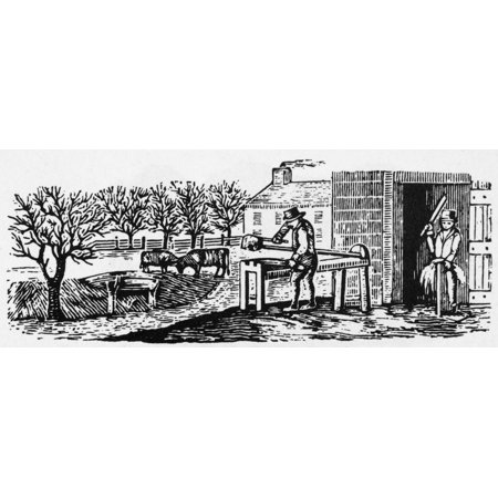 Farmer Almanac Cut Nwood Engraving American 19Th Century Poster Print By Granger Collection