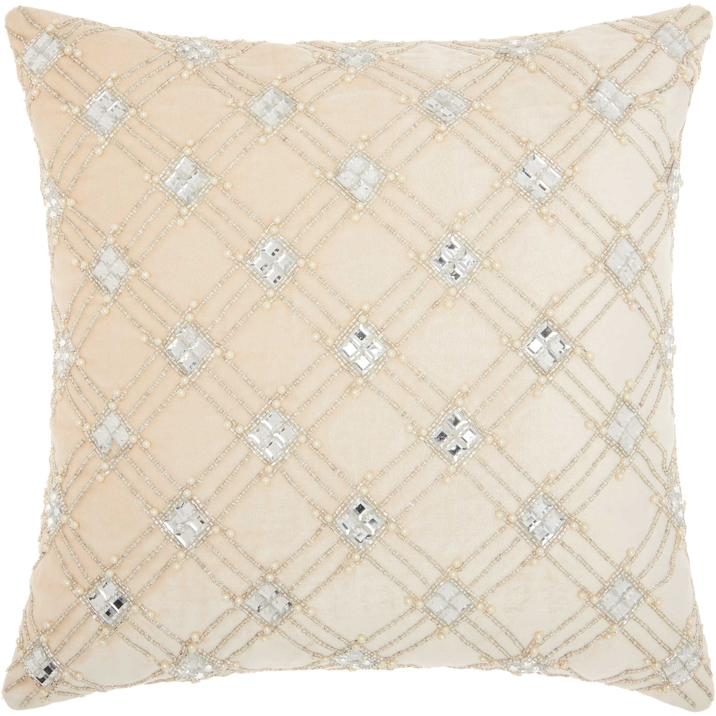 Nourison Couture Luster Diamond Lattice Ivory Throw Pillow by Nourison