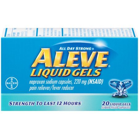 100 Mg 50 Gels - Aleve Liquid Gels w Naproxen Sodium, Pain Reliever/Fever Reducer, 220 mg, 20 Ct