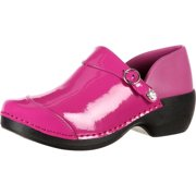 4EurSole Work Shoes Womens Patent Leather Clog Fuchsia RKH050