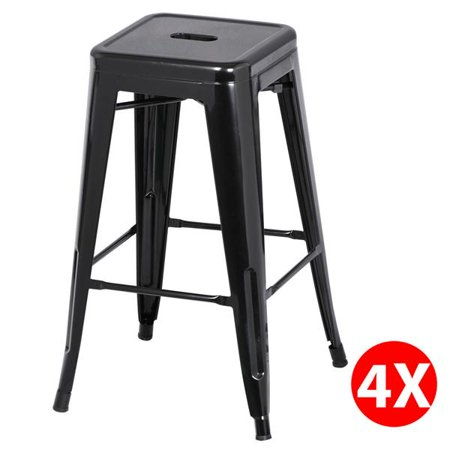 Incredible Easyfashion 30 High Stackable Metal Bar Stools Kitchen Dining Bar Chairs Backless Set Of 4 Counter Stool Black Machost Co Dining Chair Design Ideas Machostcouk