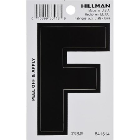Hillman Group 841514 3 in. Black Glossy Vinyl Die-Cut Adhesive Letter - F - 5 - Glossy Letter