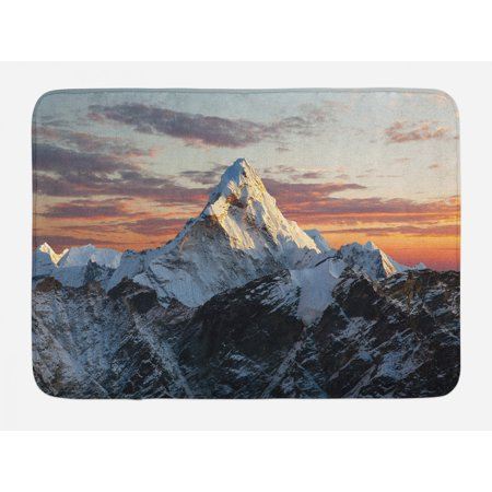 Mountain Bath Mat, Evening South Asian High Mountain above the Sky with Colorful Nepal Everest Photo, Non-Slip Plush Mat Bathroom Kitchen Laundry Room Decor, 29.5 X 17.5 Inches, Multicolor, Ambesonne