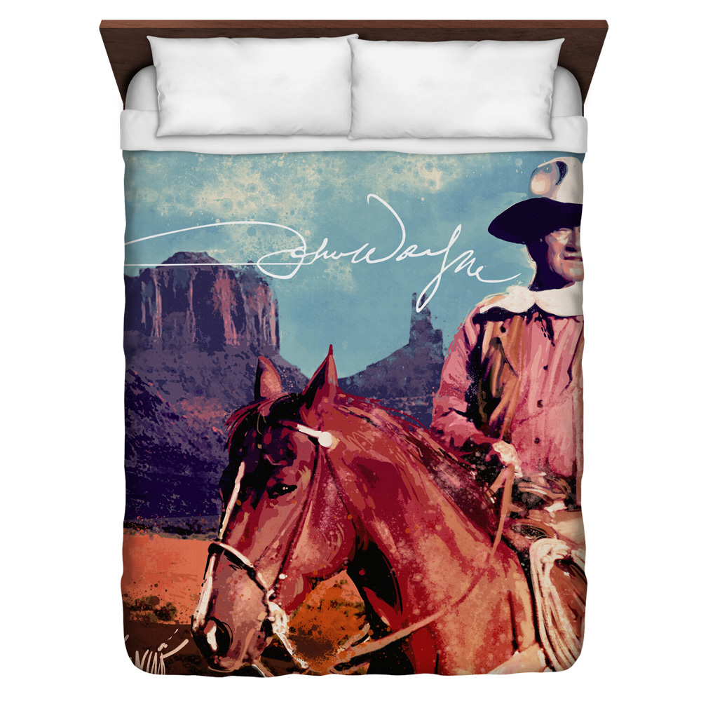 John Wayne Monument Man Queen Duvet Cover White 88X88