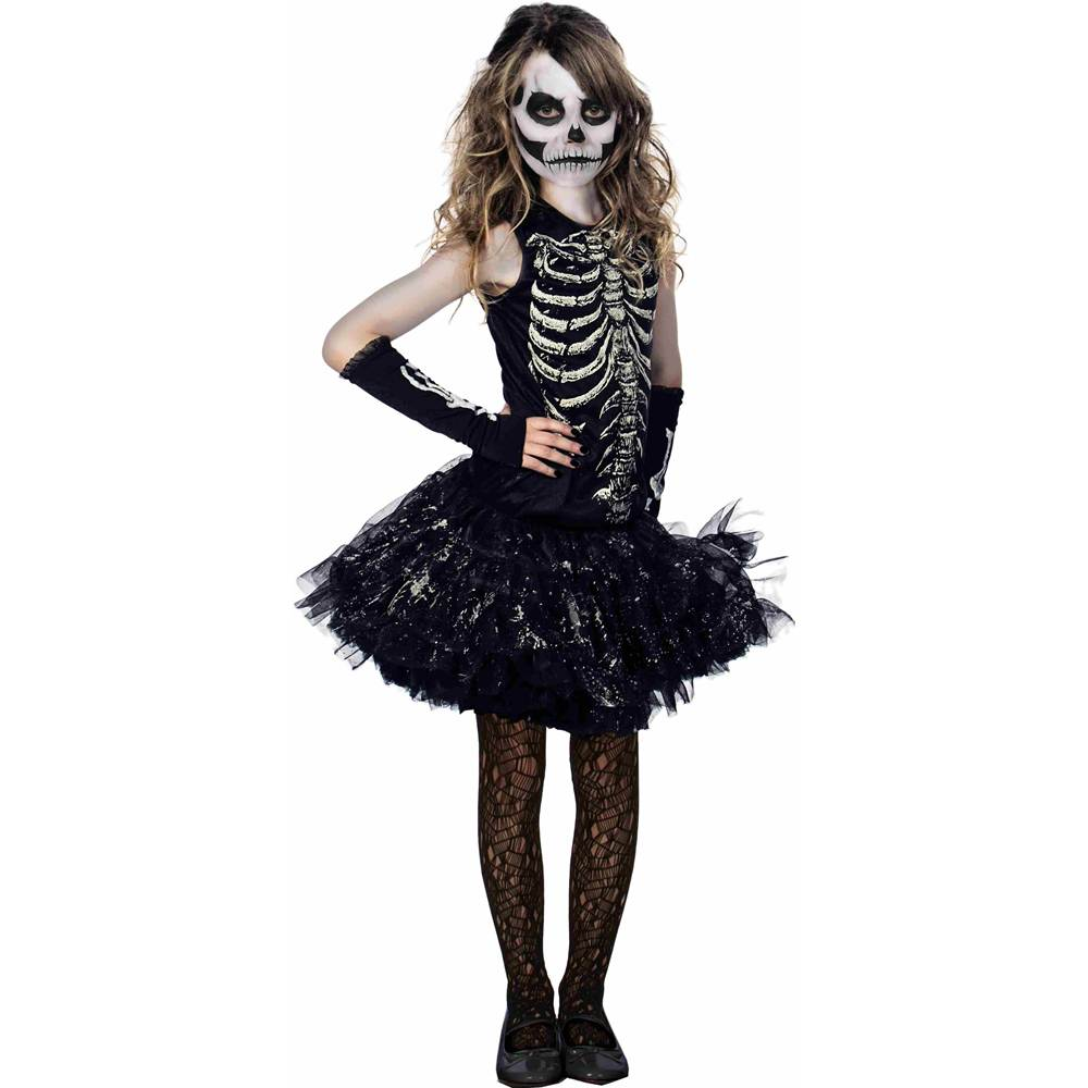 Cutie Bones Glowing Skeleton Tutu Kids Costume