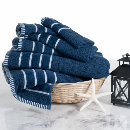 Combed Cotton Towel Set- Rice Weave 100% Combed Cotton 6 Piece Set by Somerset Home