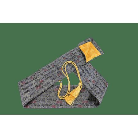 Makoto Synthetic Silk Handmade Sword Bag Script On Grey Style 210