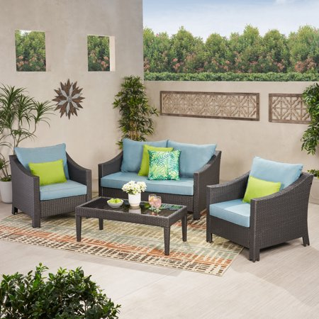 Gregory Outdoor 4 Piece Wicker Chat Set with Cushions, Grey, Teal 4 Piece Outdoor Wicker