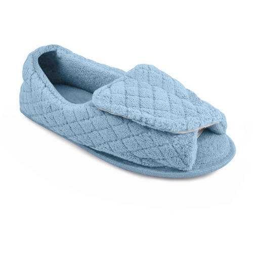 MUK LUKS - Quilted Micro Chenille Adjustable Open Toe Full Foot Slipper