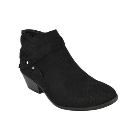 Portia Black Suede Soda Women Ankle Boots Small Short Heel Booties Buckled Side Zipper Black Suede Buckled Ankle Bootie