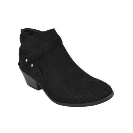 Portia Black Suede Soda Women Ankle Boots Small Short Heel Booties Buckled Side Zipper