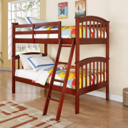 Donco Kids Columbia Twin over Twin Mission Bunk (Hunter Traditional Dark Cherry Wood Bunk Bed)