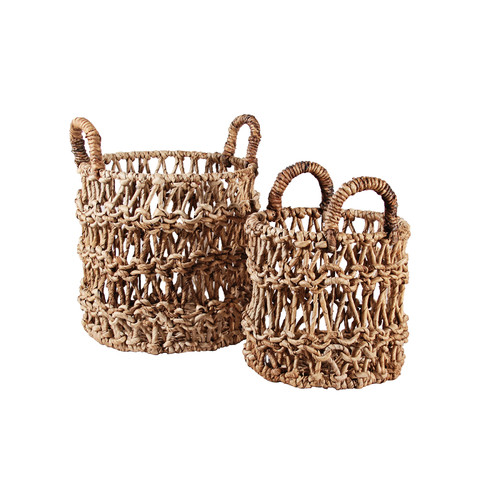 Ibolili 2 Piece Round Banana Leaf Ship Basket Set