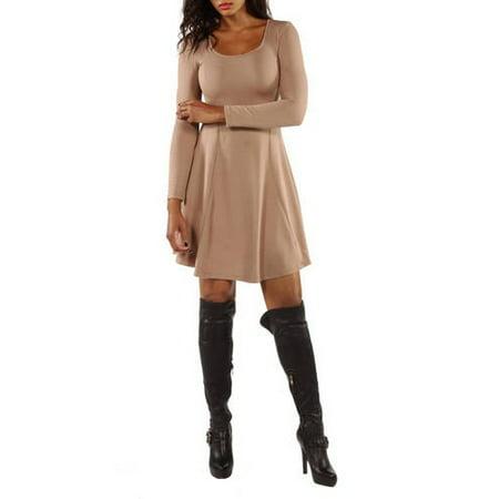 Women's Long Sleeve Dress - Black Bow Dress