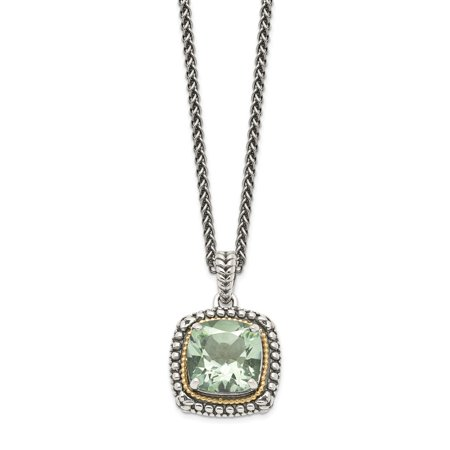 Roy Rose Jewelry Shey Couture Collection Sterling Silver with 14K Yellow Gold Green Quartz Necklace 18