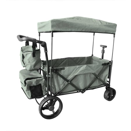 GREY OUTDOOR PUSH FOLDABLE WAGON CANOPY UTILITY TRAVEL CART WIDE TIRES