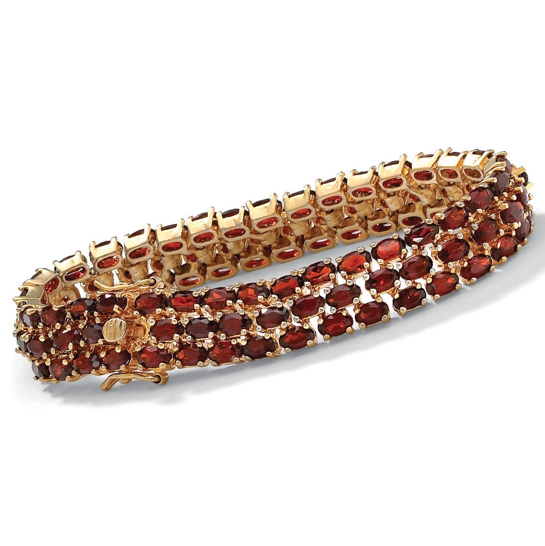 """27.50 TCW Oval Cut Genuine Garnet 14k Yellow Gold-Plated Triple-Row Tennis Bracelet 8 1 2"""" by PalmBeach Jewelry"""