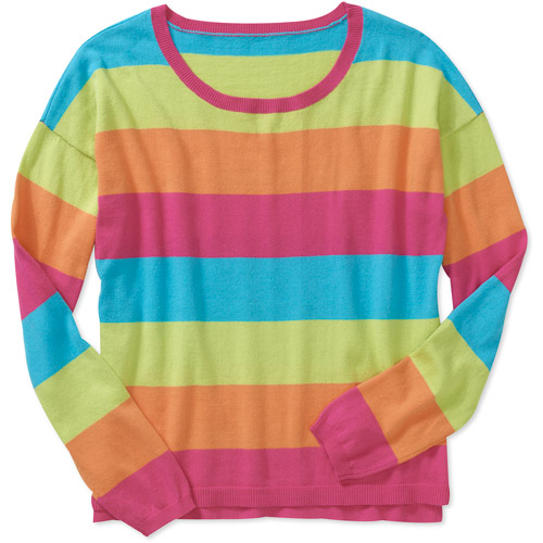 Faded Glory Women's Color Hi-Low Candy Stripe Sweater