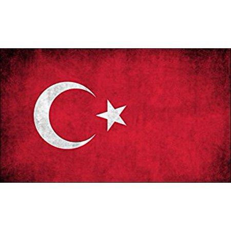 Turkey Vintage Flag Sticker Decal (decal turkish red white moon star) Size: 3 x 5 inch