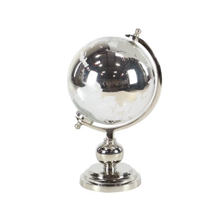 Decmode Eclectic 15 X 9 Inch Silver Glass And Aluminum Globe Sculpture