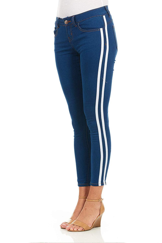 5ac6c9e5f9a YDX Jeans - Cover Girl Side Striped Skinny Jeans for Women Juniors Stretchy Denim  Plus Size 20W Light White Stripe - Walmart.com