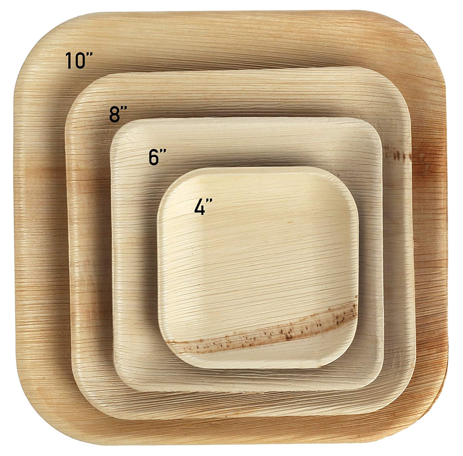 """Brheez Disposable Palm Leaf 6"""" Square Plates - Eco Friendly Alternative to Plastic - Biodegradable Compostable & Chemical Free- Elegant Dinner Party Bamboo Style (25 Pack)"""