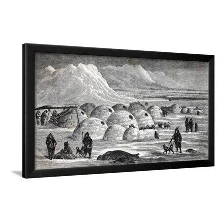 - Innuit Igloos, or Snow Village Illustration Framed Print Wall Art